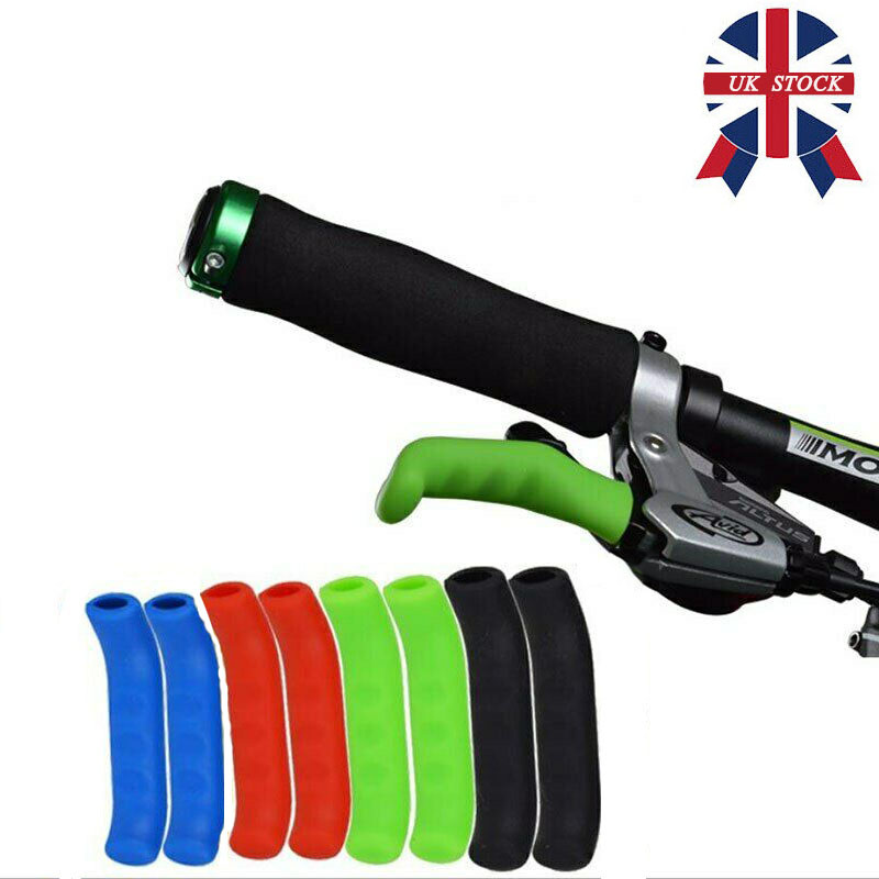 PAIR of COLOURED BRAKE LEVER GRIPS PROTECTORS COVERS MOUNTAIN BIKE BICYCLE FIXIE