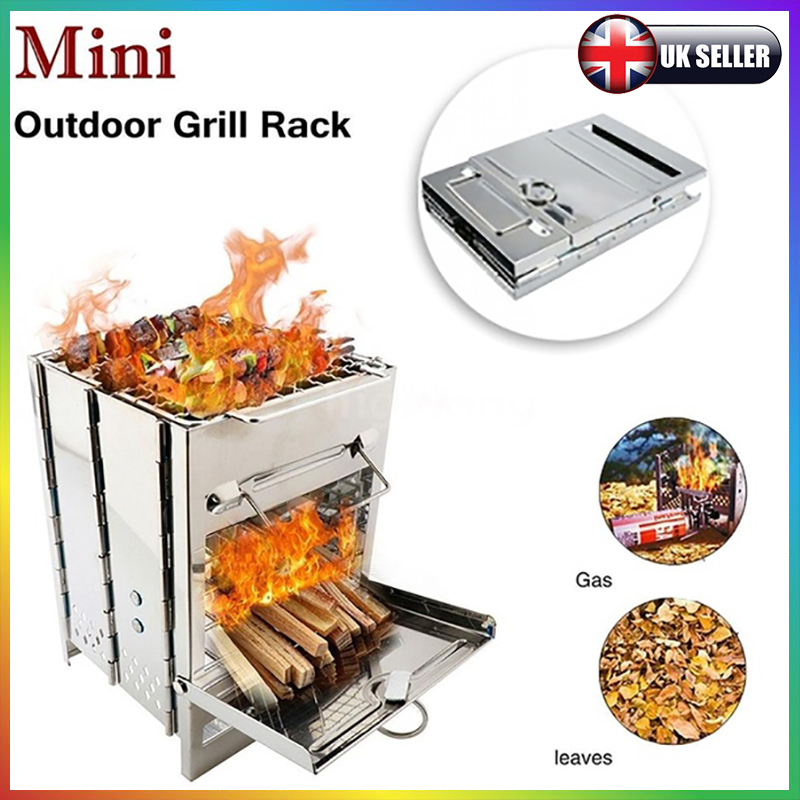 Camping Foldable Backpack Stove Portable Wood Burn Lightweight Cook Picnic BBQ