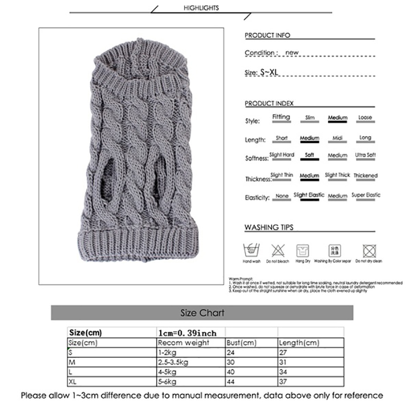 UK Fashion Knitted Puppy Dog Jumper Sweater Pet Clothes For Small Dogs Coat 32