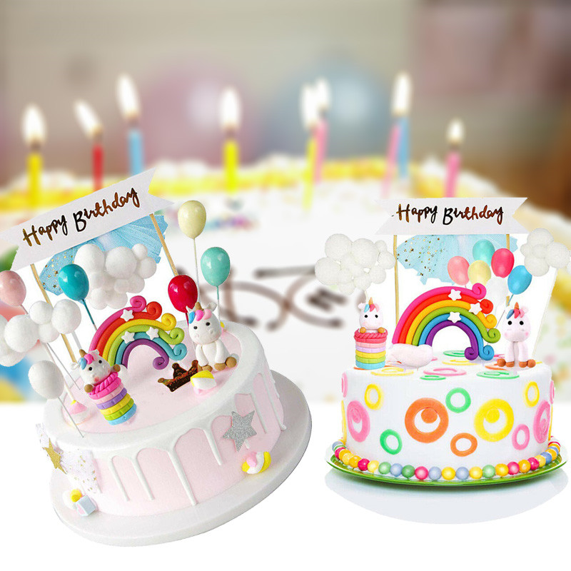 Magnificent 16Pcs Rainbow Unicornballon Birthday Cake Topper Cake Personalised Birthday Cards Vishlily Jamesorg