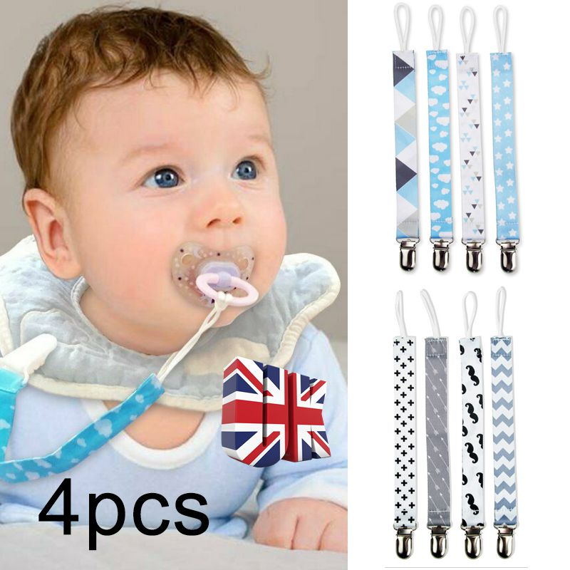 4pcs//set Dummy Clip For Baby Soother Clips Chain Holder Pacifier Modern Design