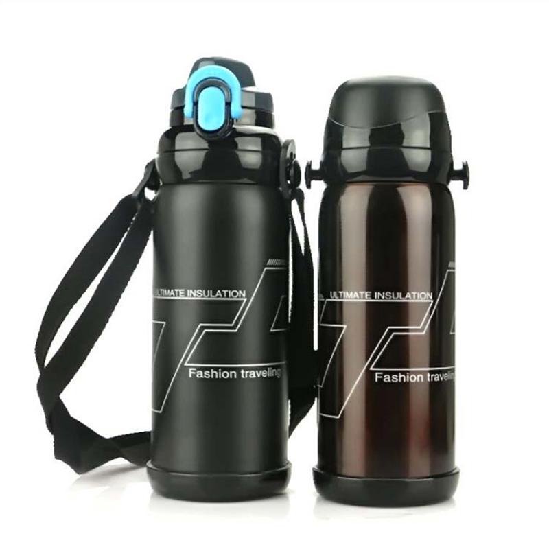 Isolierflasche Thermoskanne Isolierkanne Thermosflasche 1,9L Black White