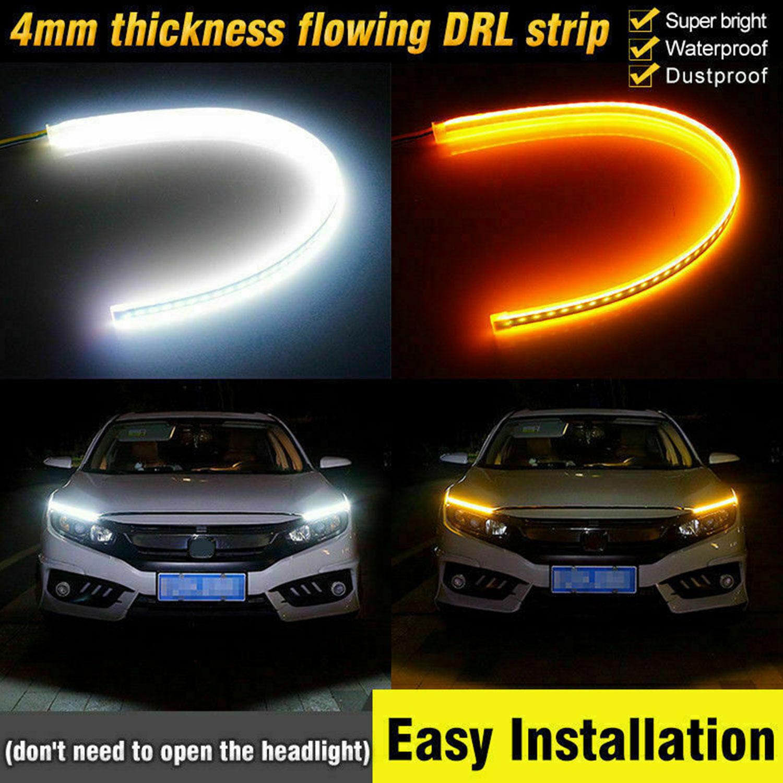 30//45//60cm flexibler LED Auto Streifen DRL Tagfahrlicht Blinker Lampe Leuchte