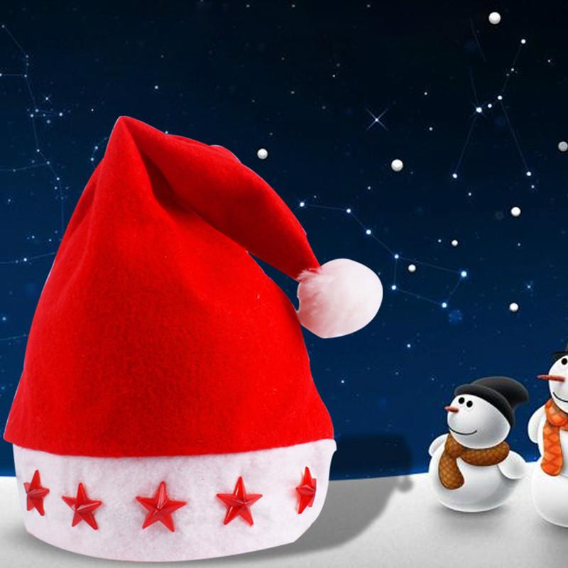 Weihnachtsmütze mit LED Sternen Nikolaus Mütze Weihnachtsmarkt Weihnachtsmützen.