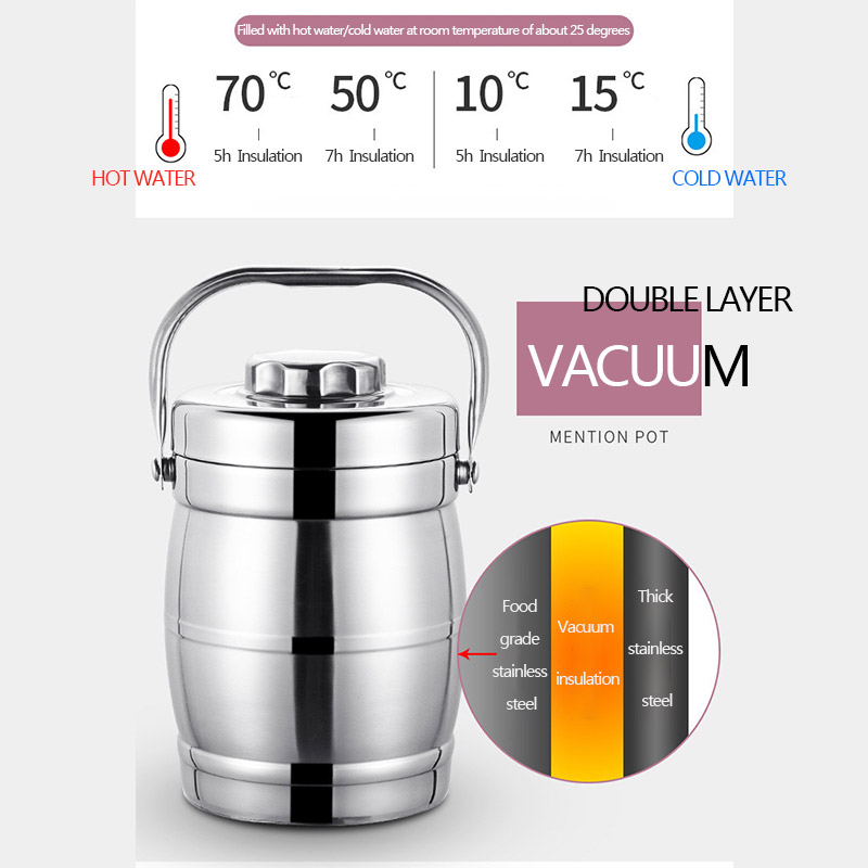 Vacuum Insulated Lunch Box 2 Tier Jar Hot Thermos Food