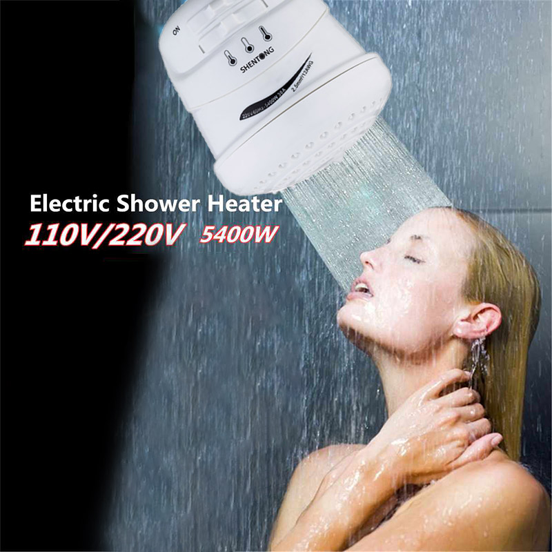 220V 5400W Portable Electric Instant Hot Water Heater Shower Head Three Modes