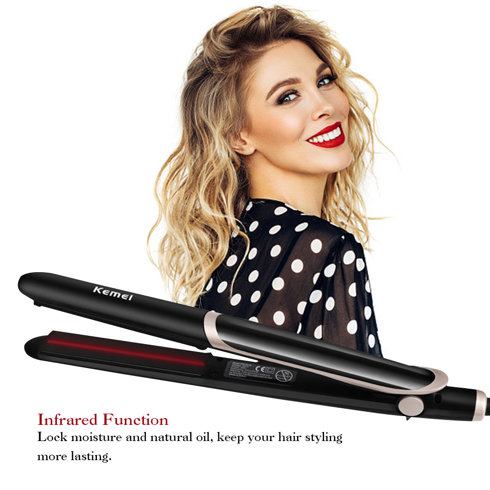 Details about 2 in 1 Far Infrared Flat Iron Hair Straightener Curler Professional Ceramic UK