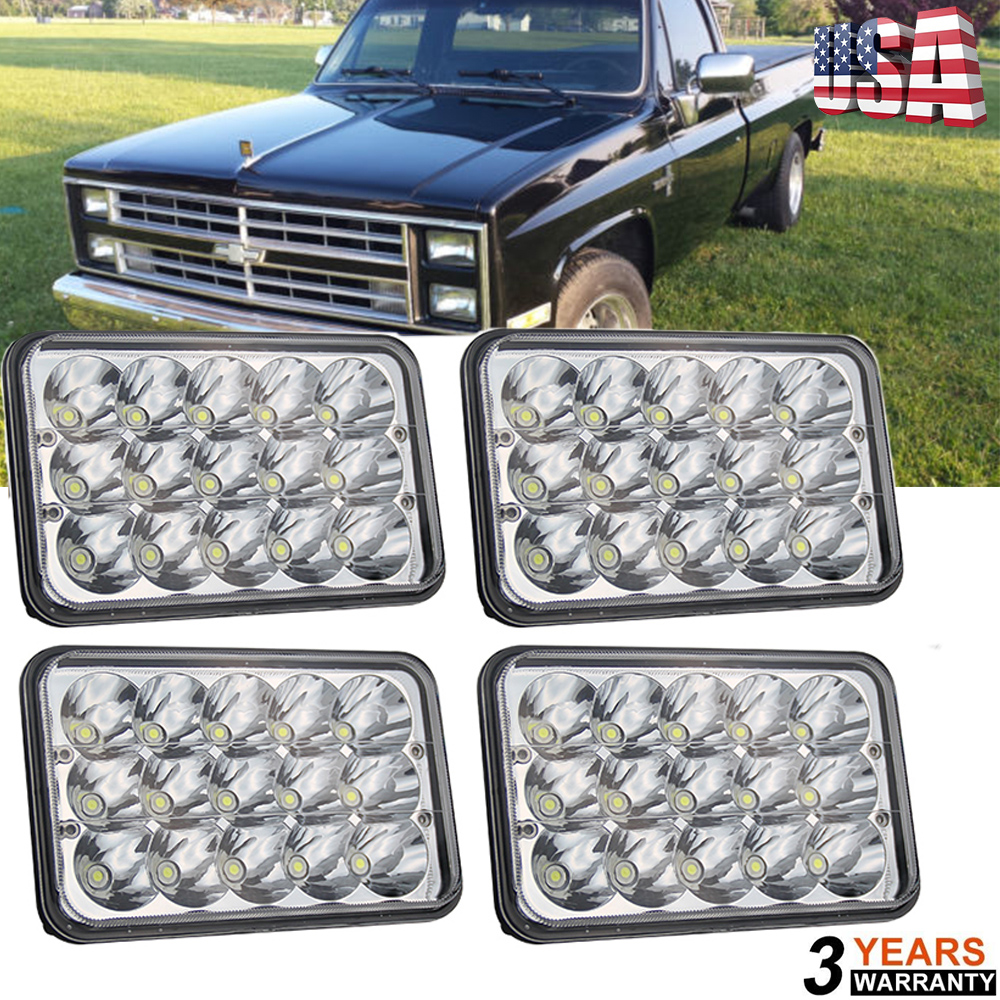 """4/""""x6/""""Crystal Clear Sealed Beam LED Headlights For Chevy Pick Up Truck 81-87 4PCS"""