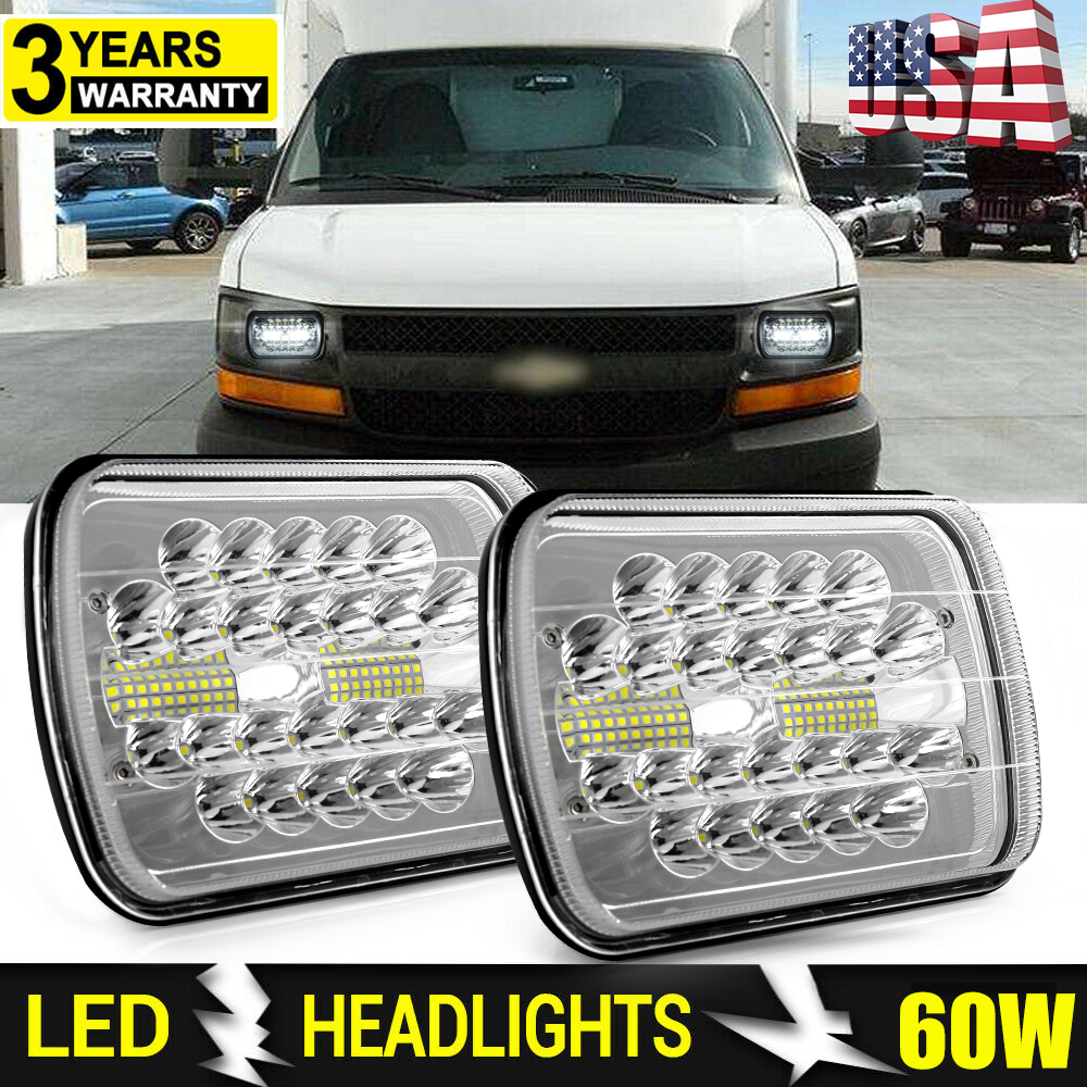 LED Headlight Sealed Beam 5x7 Headlamp for Chevy Express Cargo Van 1500 2500 7x6