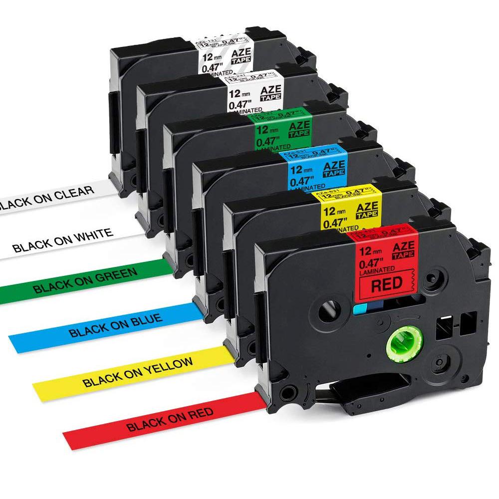 6x Schriftband-Kassetten für Bruder TZ221 TZe-221 Schwarz auf Weiß 9mm PT-D210