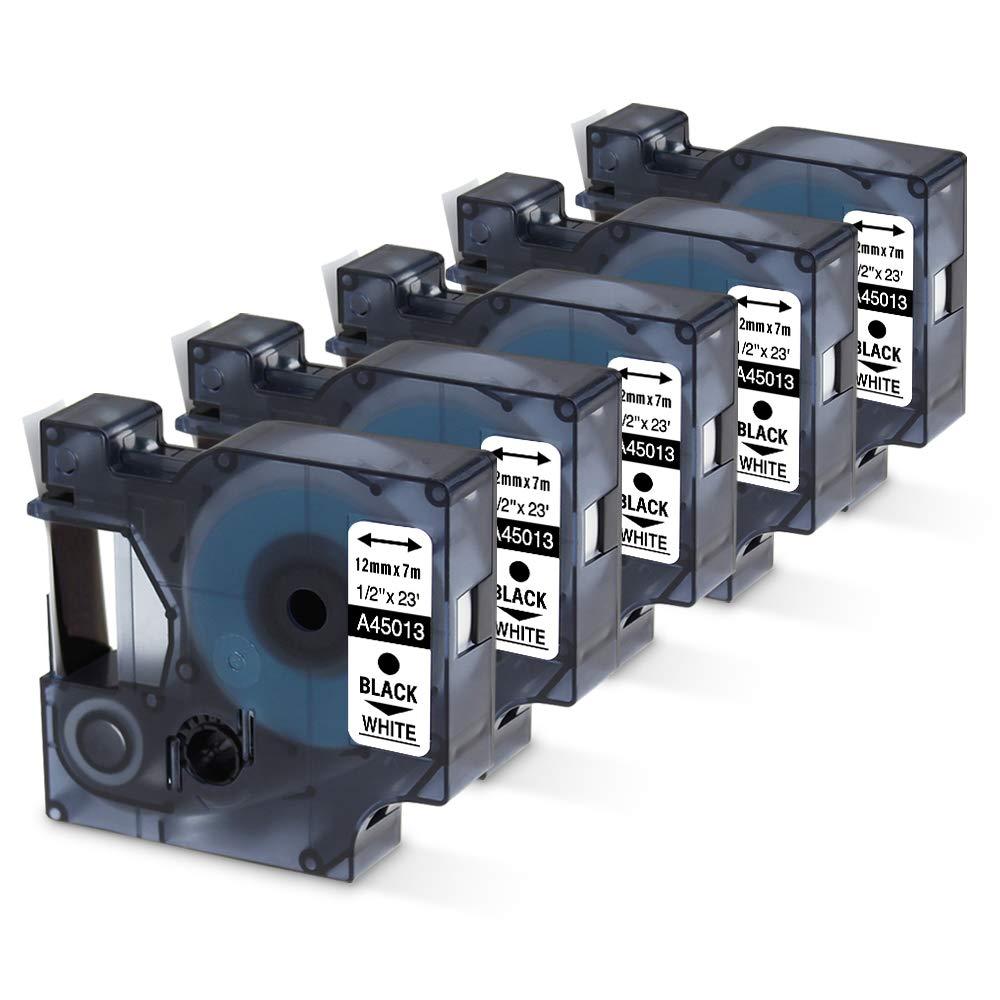 5PK 45013 Schriftbandkassette für Dymo D1 Schwarz auf Weiß 12mm LabelManager 160