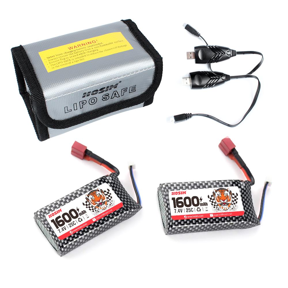 USB with Safety Bag for 9125 RC Car Hosim 7.4V 25C 2S 2000mAh Li-Po Battery