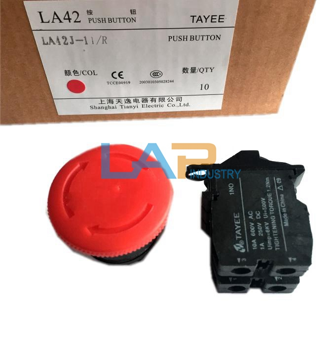 1pc New TAYEE red push button switch LA42P-01 10//R 1 normally open