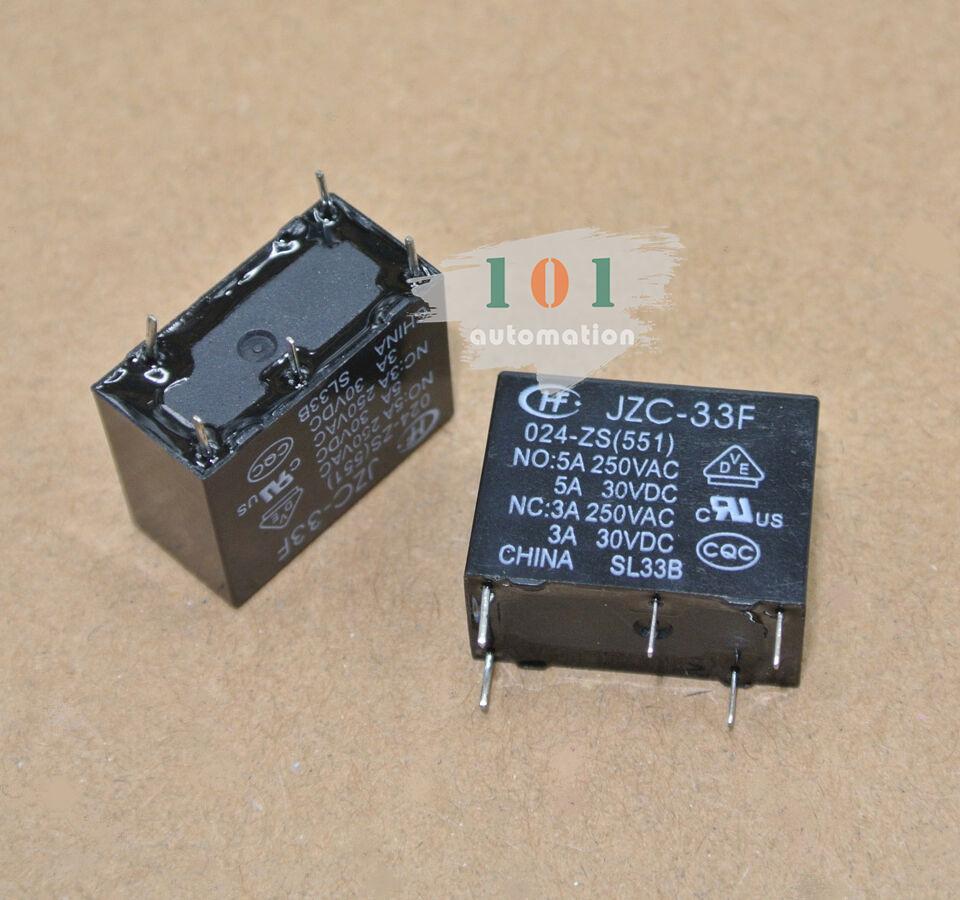 2pcs.HONGFA Power relay SPDT,5A 250VAC load 24VDC coil JZC-33F-024-ZS3