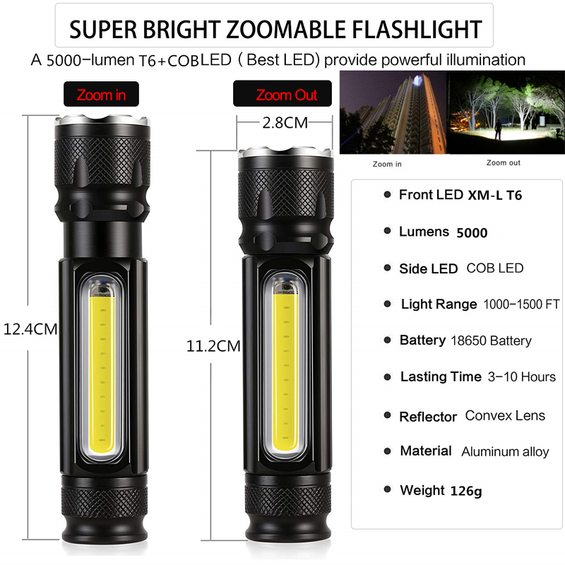 60000LM Cob Strip Work Light Usb Rechargeable Inspection Flashlight Led Torch FT