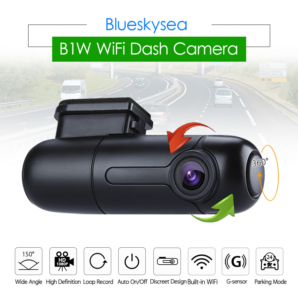 Super Night Vision Car DVR Parking Monitor Built-in WiFi Dash Cam with Super Capacitor 150/° Wide Angle G-Sensor and GPS WiFi Dash Cam HD 1080P Car Camera Loop Recording