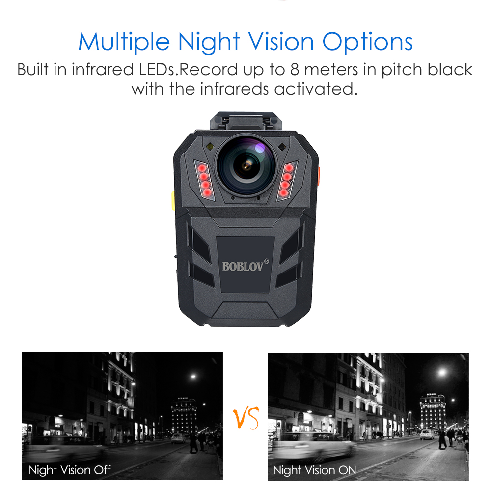 BOBLOV WA7-D HD 1296P 32GB Police Body Worn Camera DVR Recorder Nigh Vision Cam