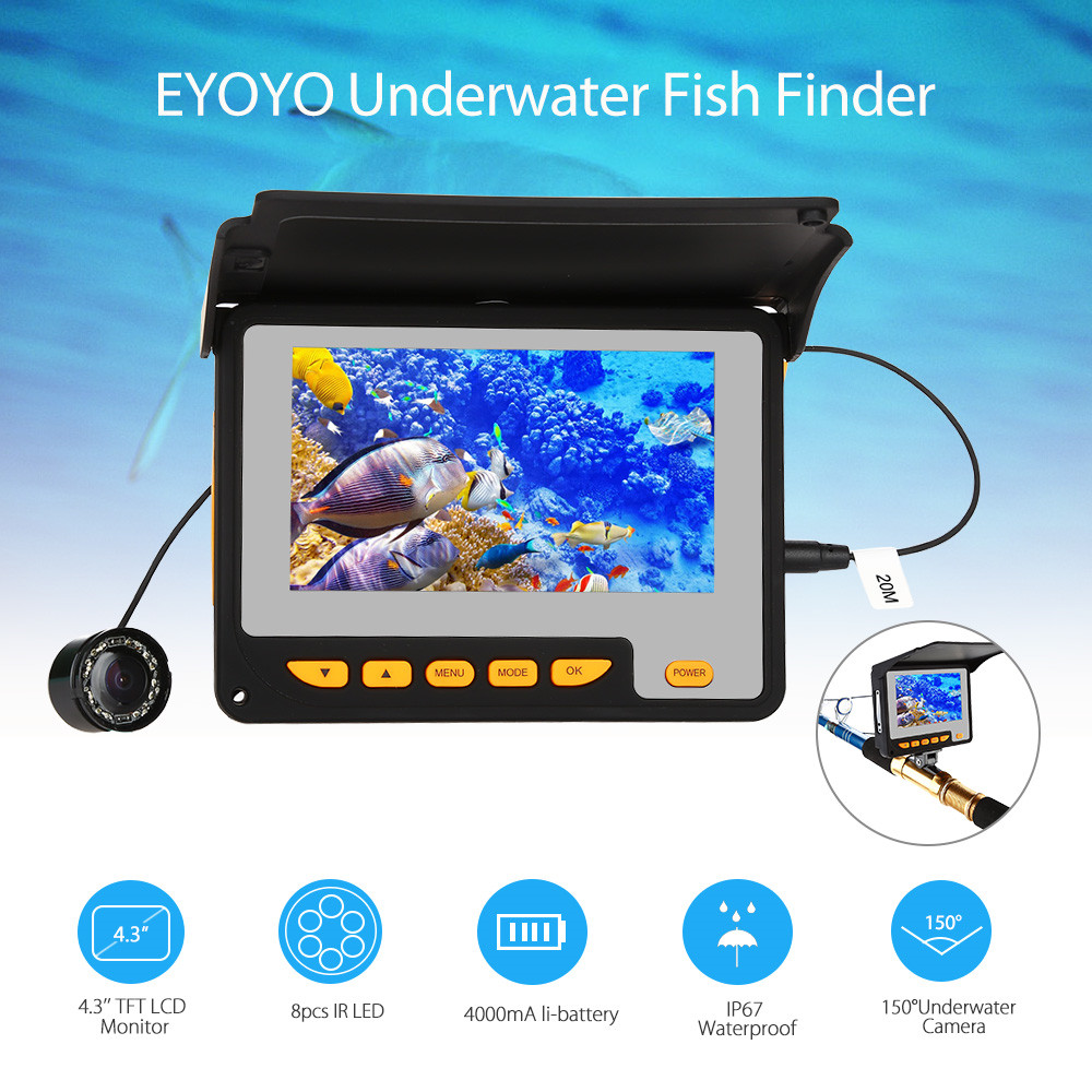 Eyoyo 43 20m Infrared Ir Video Underwater Fishing Camera Fish Wiring Diagram Wire Diameter 12mm Led 8pcs Angle 150 Degrees Monitor Image Color Resolution High Definition Work Temperature 20 60 Degree