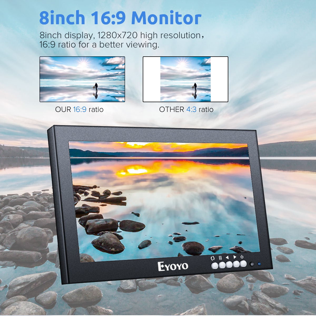 Eyoyo 8 inch Small HDMI LCD Monitor, Portable 1280x720 16:9 IPS Metal Housing Screen Support HDMI/VGA/AV/BNC Input