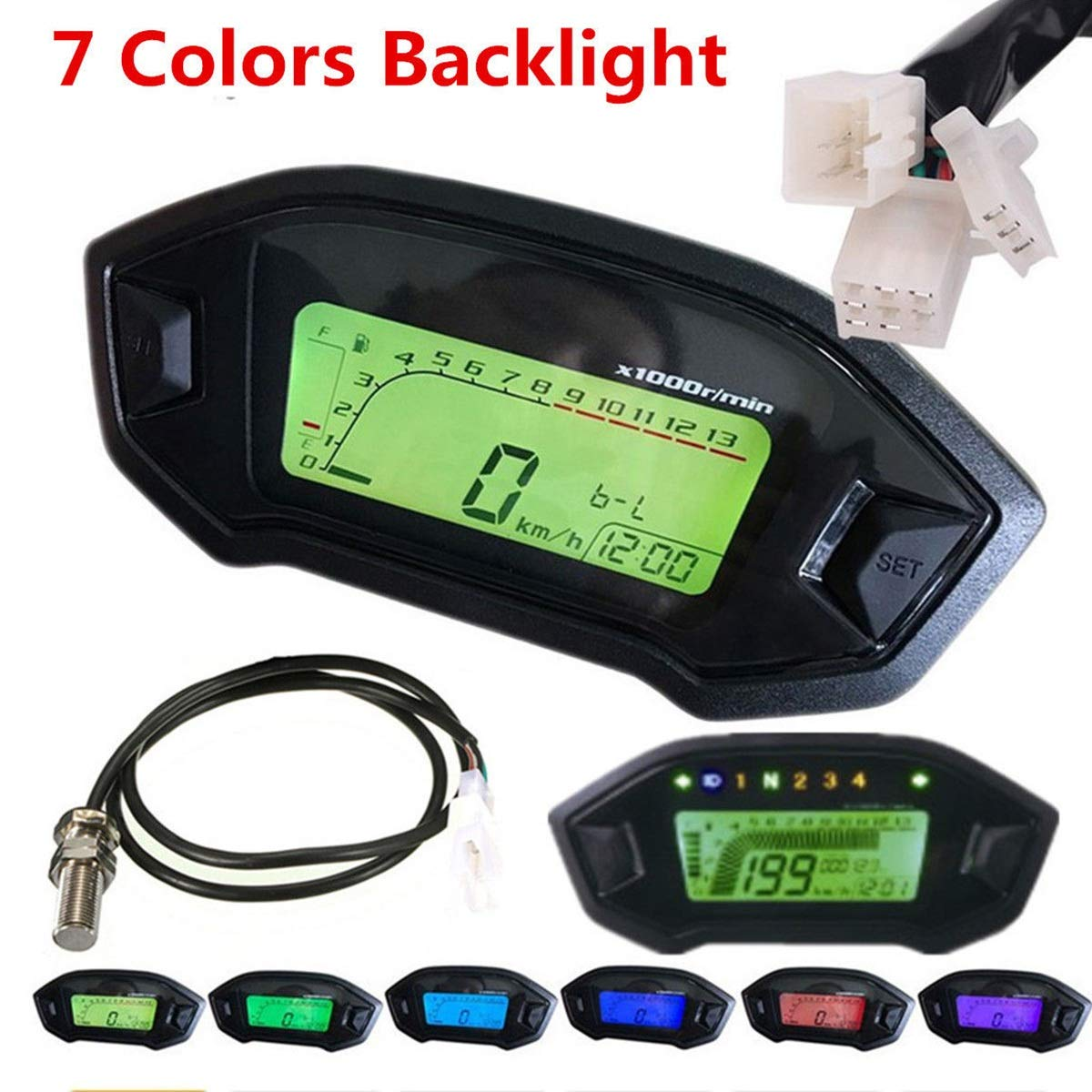 Universal Dc 12v 13000 Rpm 7 Backlight Lcd Motorcycle