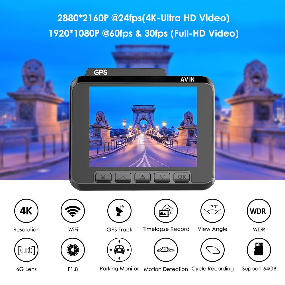 AZDOME M06 1080P 60FPS 2160P/24FPS Ultra GPS WIFI Car Dash Cam DVR
