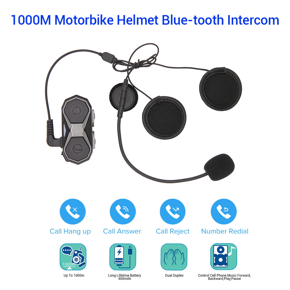 Long Range 1000m Motorbike Blue Tooth Wireless Helmet Headset Headphone Interphone 3 0 Edr A2dp Speakers Walkie Talkie Wt005 Helmet Headsets Aliexpress