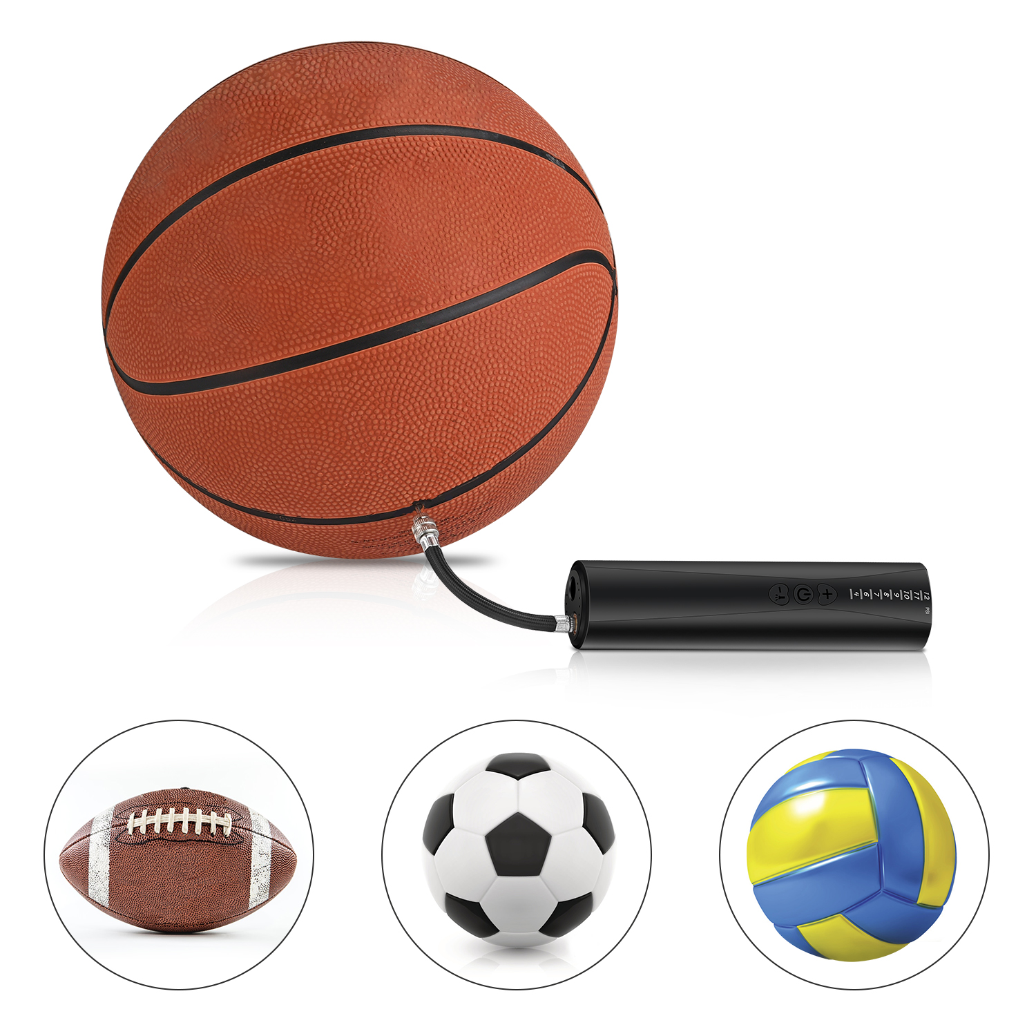 Volleyball Football Zacro Automatic Electric Ball Pump with 7 Needles Water Polo Hand held Pump to Fast inflate Soccer Basketball Fast Ball Pump Powered by Battery Rugby Handball etc