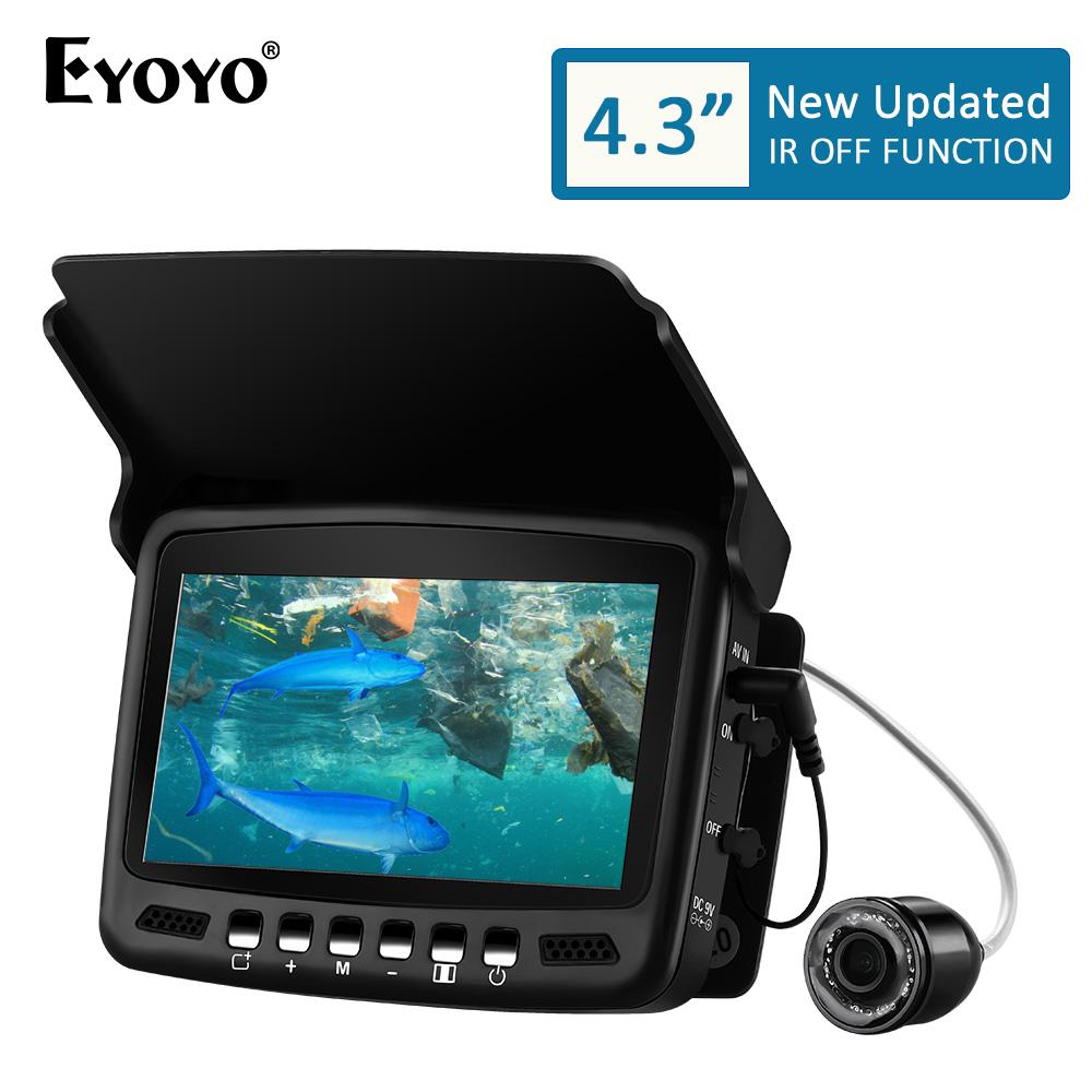 "Eyoyo 4.3/"" 20M Underwater Fishing Video Camera Fish Finder 10 Hours 8pcs IR LED"