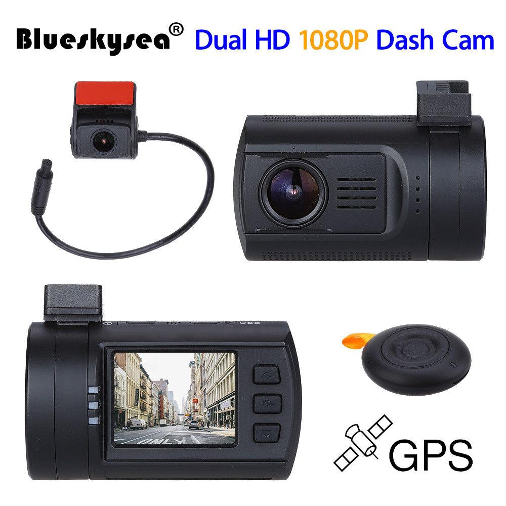 "Mini 1.5/"" TFT 0906 Dual Dash Camera Rear Cam Dashboard Recorder GPS Tracker HD"