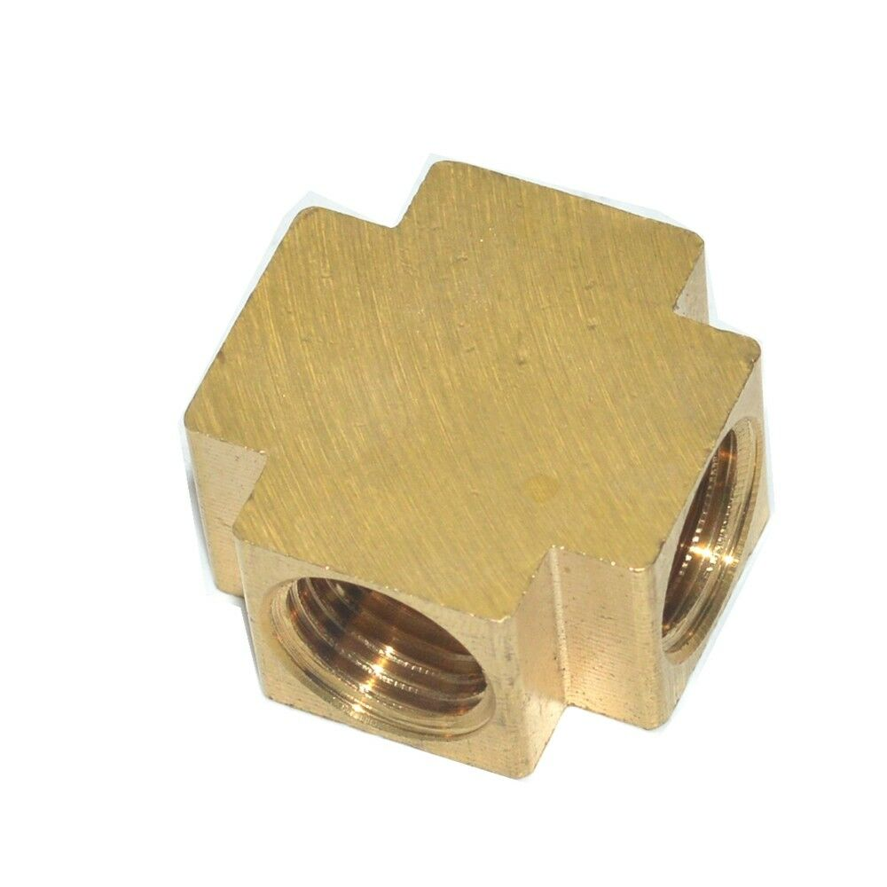 """Equal Female 1//2/"""" 3//4/"""" BSP Cross 4 Ways Brass Pipe fitting Coupler Connector"""