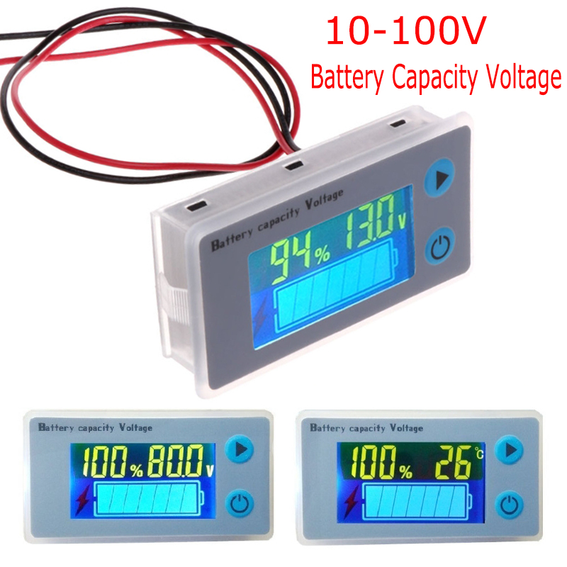 Details about 10-100V LCD Battery Capacity Indicator Digital Voltmeter  Voltage Tester Monitor