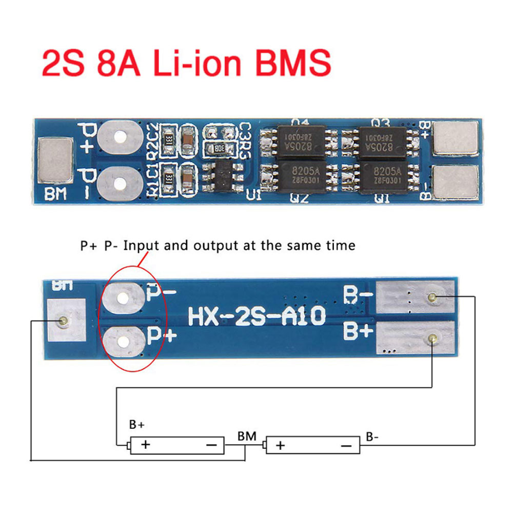 2pcs 2S 7.4V 8A Li-ion 18650 Lithium Battery Charger Protection 8.4V BMS PCM
