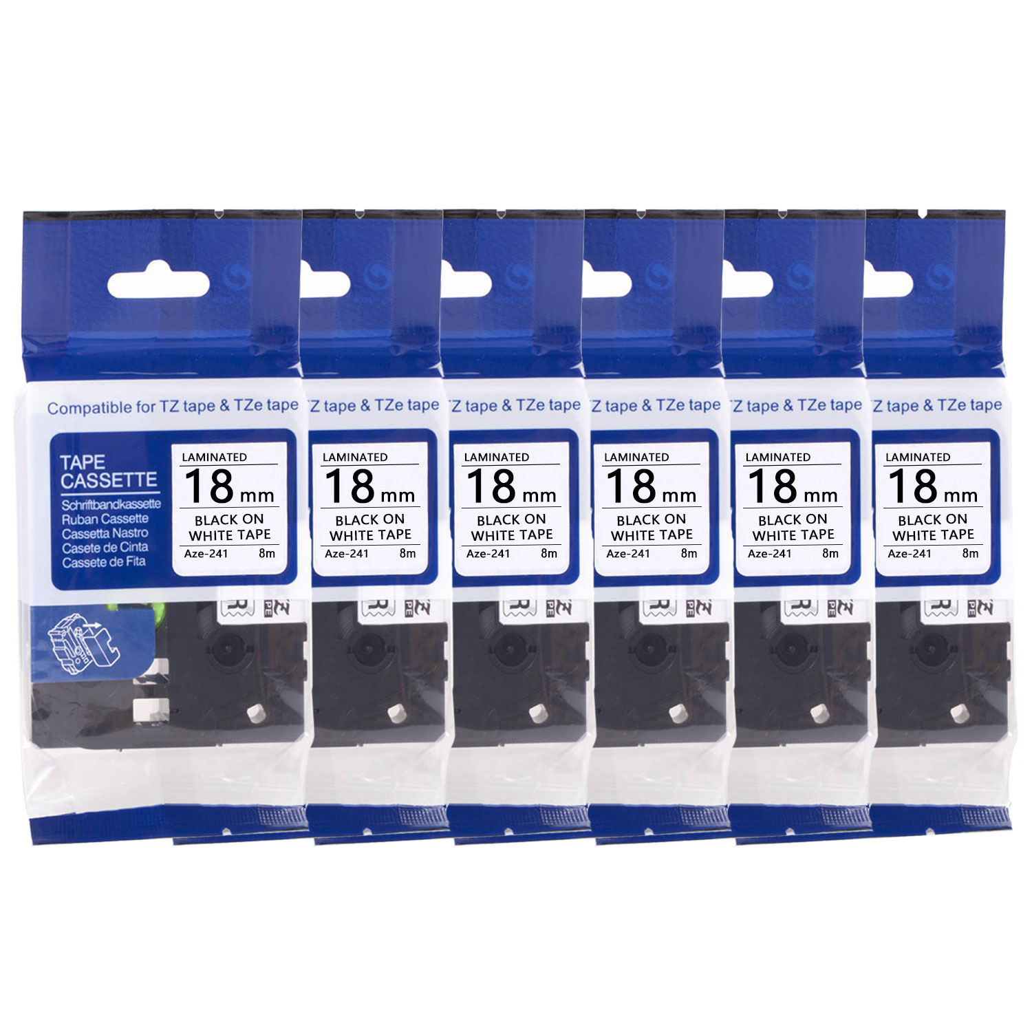 "4PK TZe-241 TZ241 Label Black on White Tape 3//4/"" for Brother P-Touch PT-D400AD"