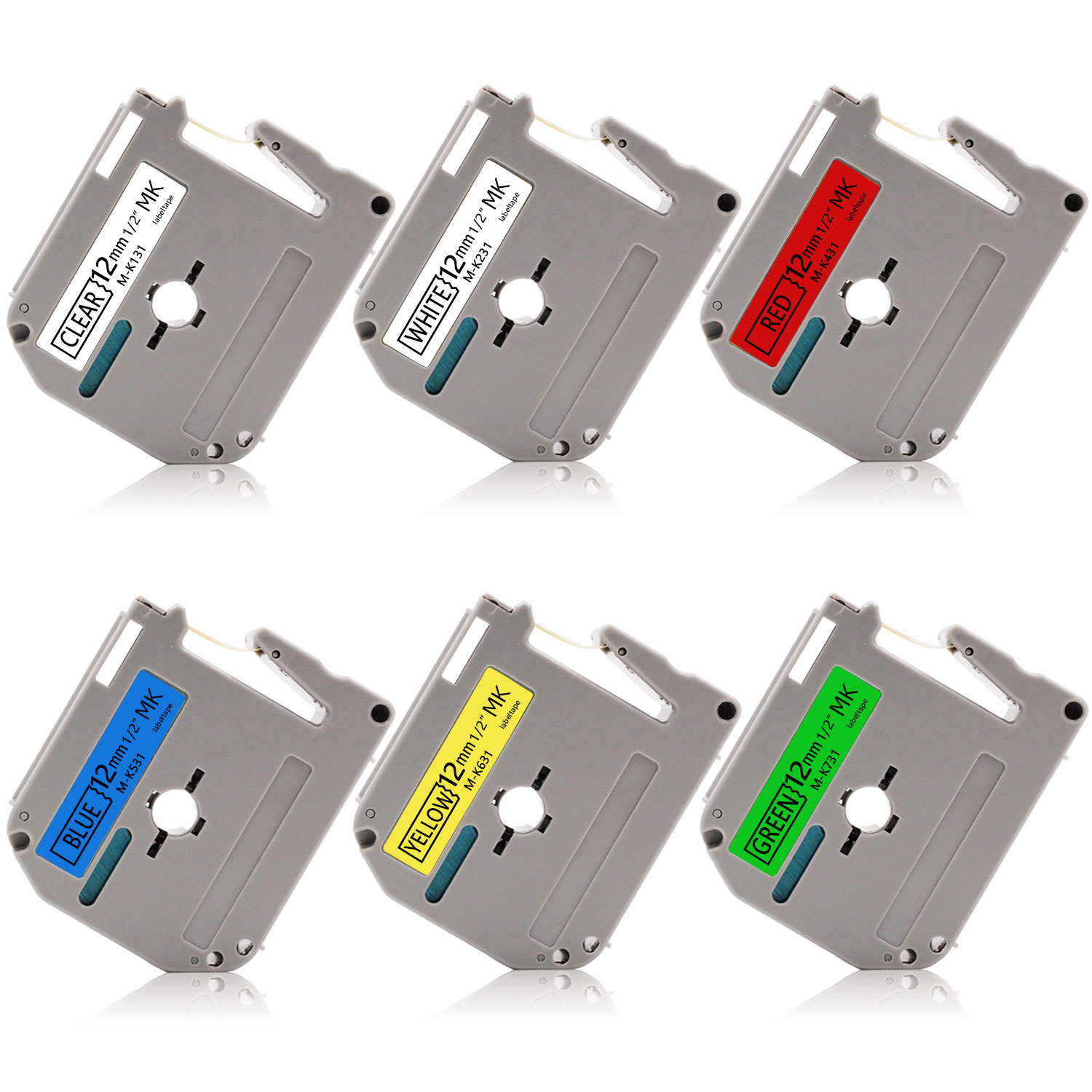 6PK Compatible Brother P-touch M131 M231 M431 M531 M631 M731 Label Tape 12mm x8m