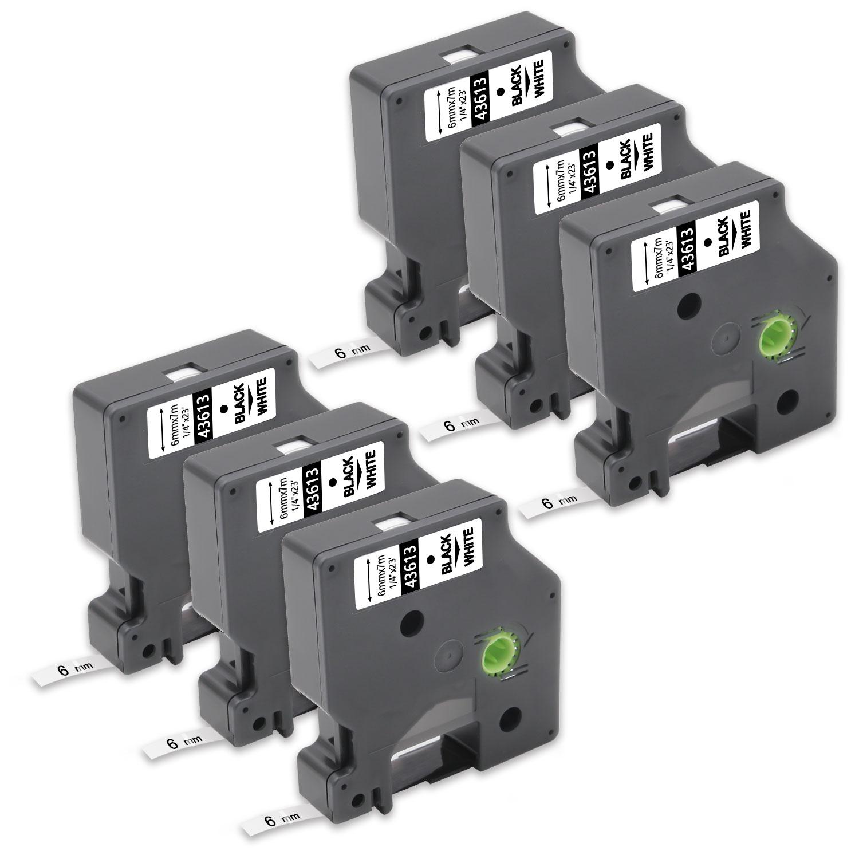 3x Schwarz auf Weiß 9mm Beschriftungsbänd für Dymo 40913 LM 450 300 420P 120P