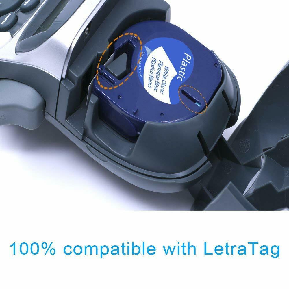 10x komp 2000 12mm schwarz weiß XR 91220 Schriftbänder für Dymo LetraTag XM