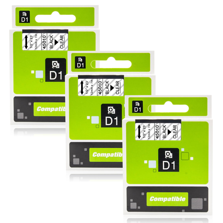 5x Schriftband Kasette für DYMO D1 45010 7m//12mm Schwarz auf Klar LM 500TS 350