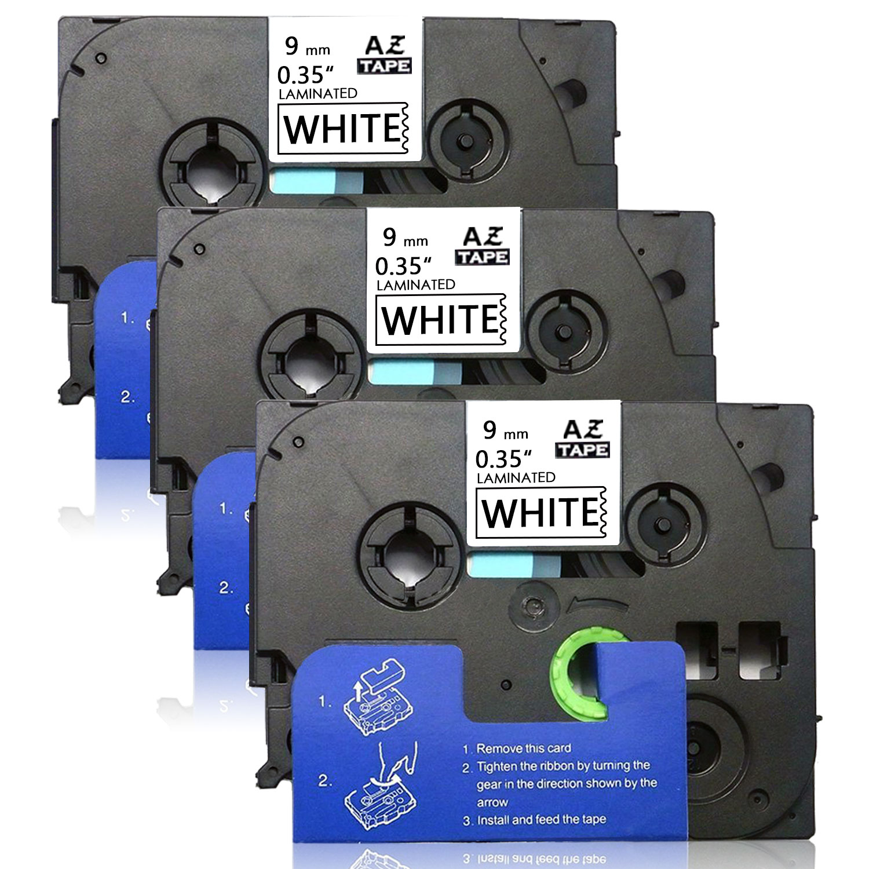 2x Schriftband-Kassetten für Brother TZ-521 TZE-521 8m//9mm Schwarz auf Blau new