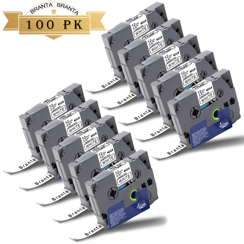 """100PK Label Tapes TZe231 12mm 0.47/""""Black//White for Brother P-Touch PT-D600 D210"""