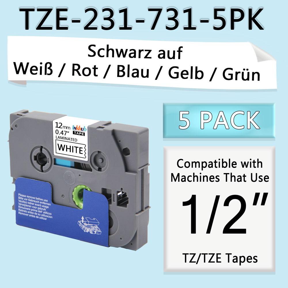 5x12mm TZe-231 431 531 631 731 Schriftband für Brother P-touch 1010 H100LB H105