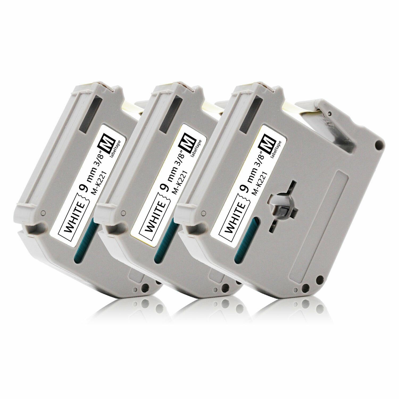 9mmx8m Schwarz//Weiß Schriftband Farbbänder für Brother P-touch M-K221 MK221 PT80
