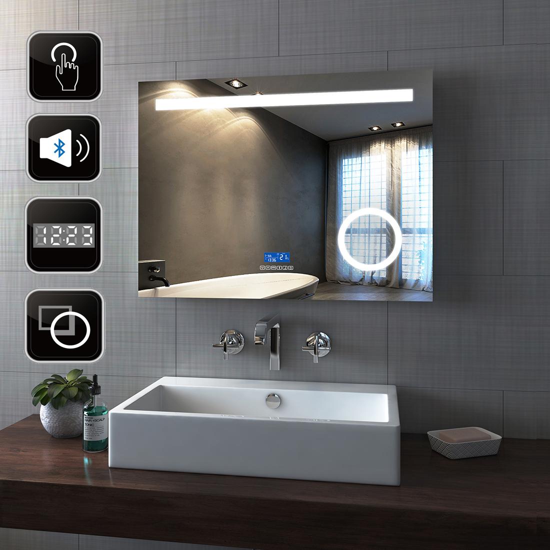 bathroom mirror with bluetooth speaker