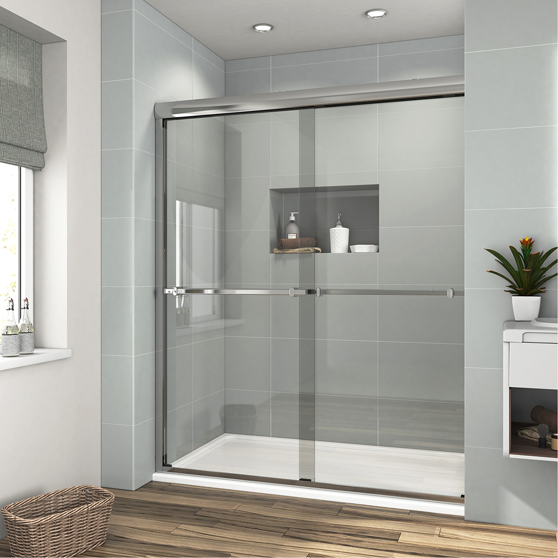 "Bath 48"" X 72"" Framed Sliding Bath Shower Door Screen 1/4"