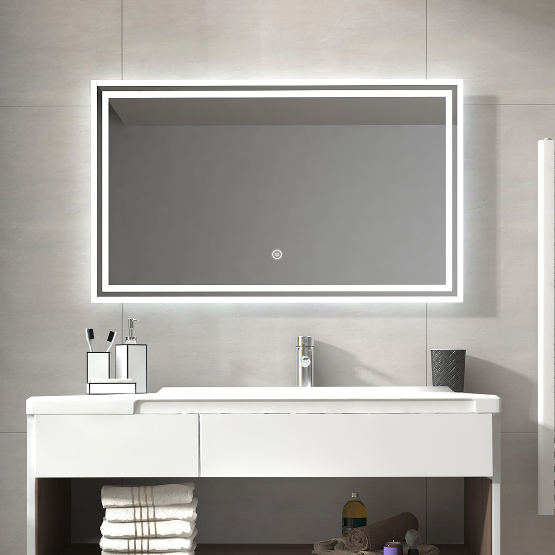 Details About Led Bathroom Lighted Mirror Illuminated Wall Touch Light Vanity Makeup 40 X24