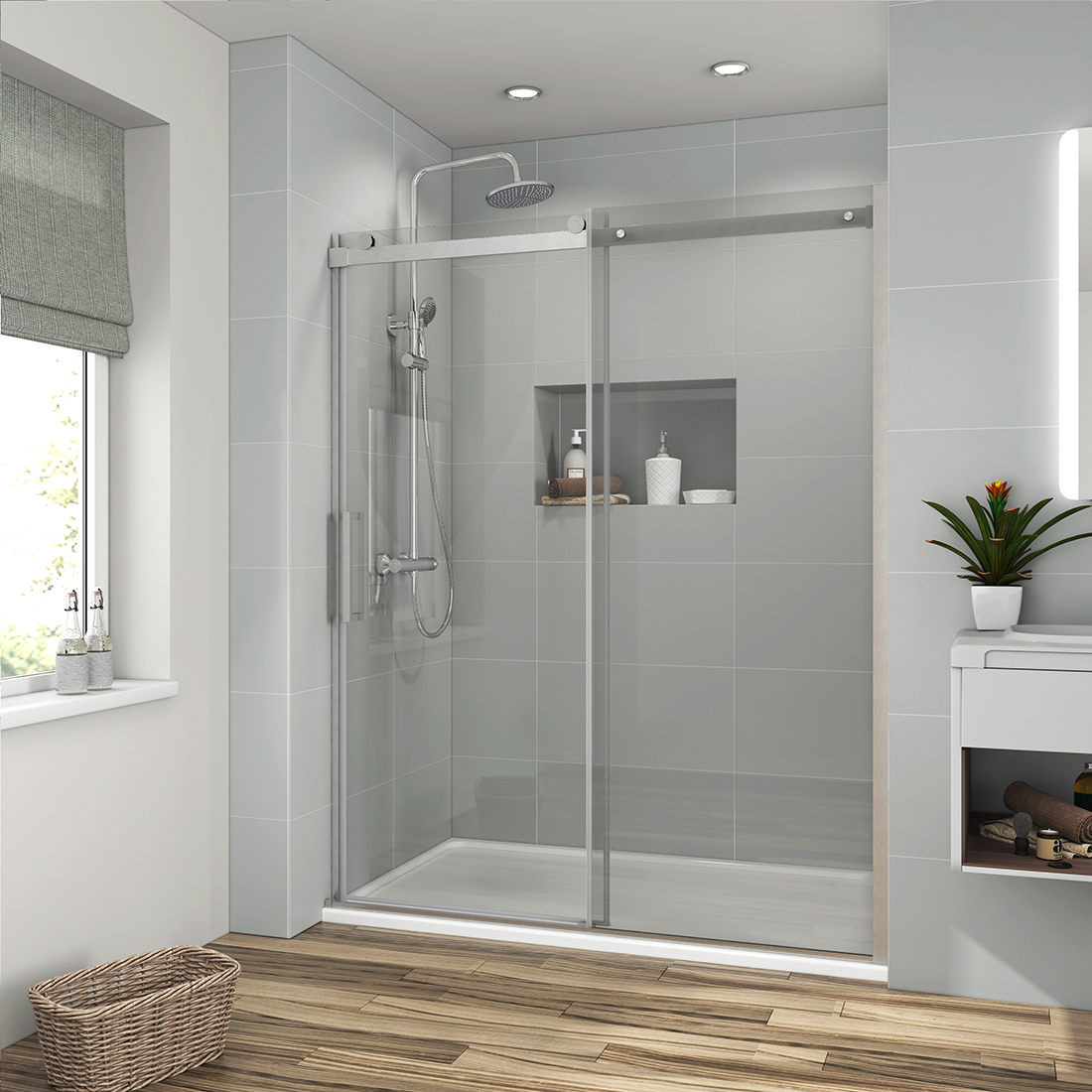Details About 48 X 72 Frameless Sliding Shower Doors Screen 5 16 Clear Glass Brushed Nickel