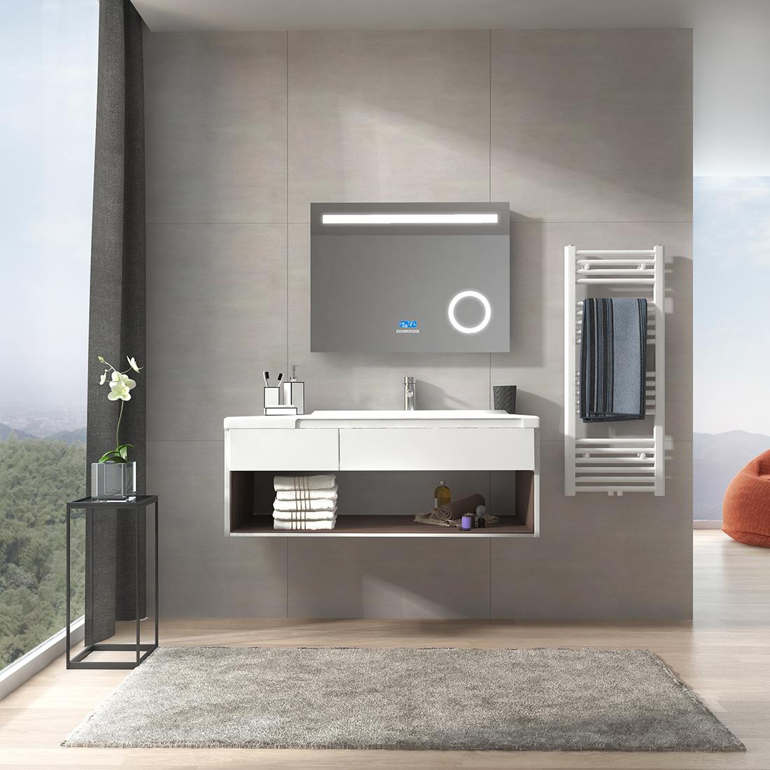 Badspiegel mit LED Beleuchtung Wandspiegel Bluetooth Touch Uhr Spiegel 80x60 cm