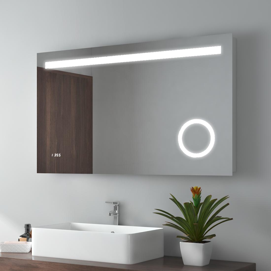 Luz De Led 3x Com Lente De Aumento Espelho De Parede Banheiro Maquiagem Sensor Switch Relogio Tempo Ebay