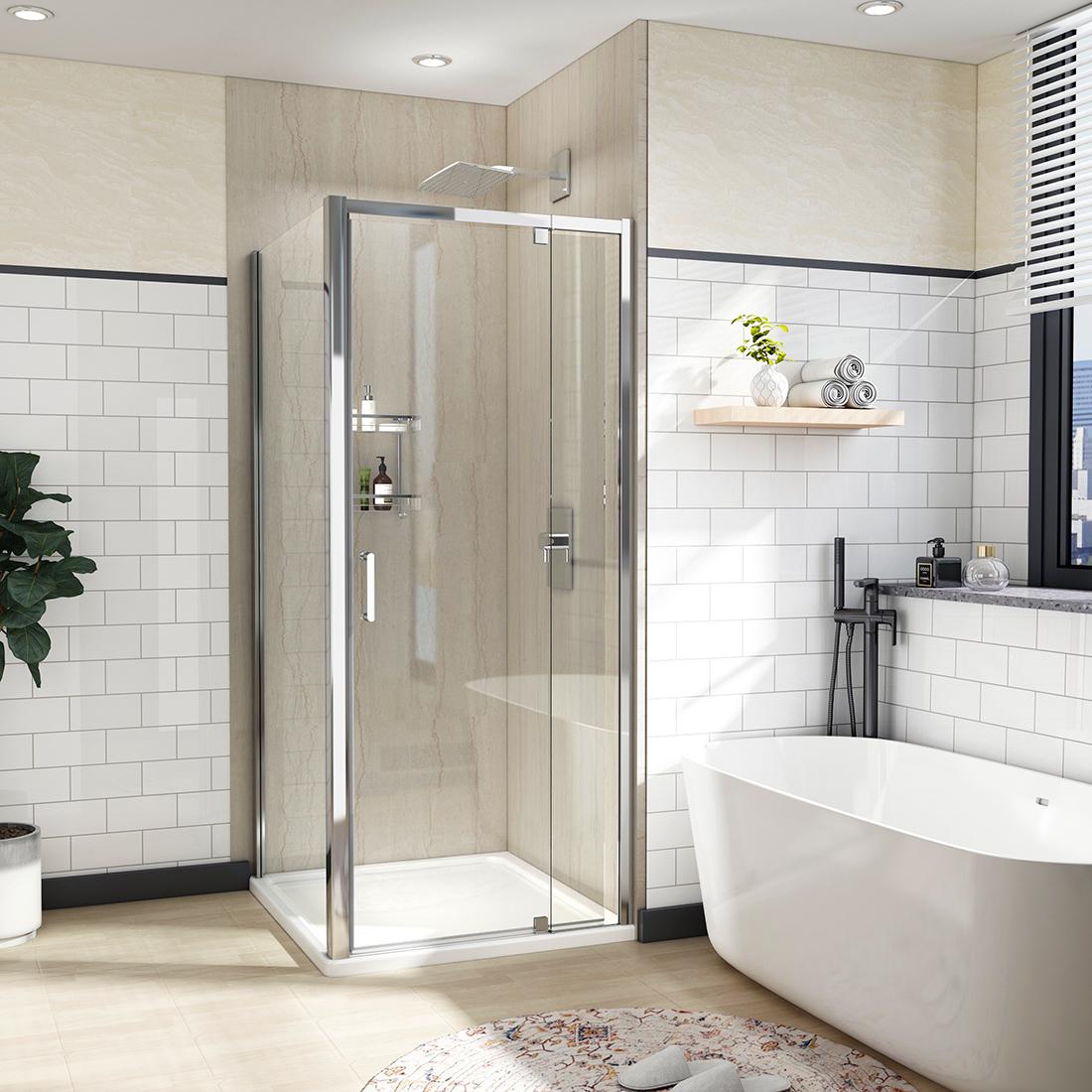 Details About 36 X 72 Framed Pivot Shower Door Screen Enclosure 1 4 Clear Glass Chrome