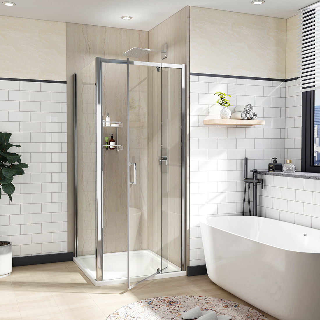 Details About 36 X 72 Framed Pivot Coner Shower Door Screen Enclosure 1 4 Clear Glass Chrome