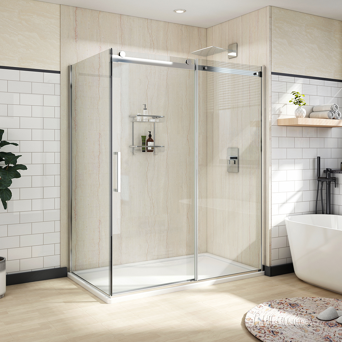 Details About 60 X36 X72 Bath Frameless Sliding Shower Door Enclosure 5 16 Glass Chrome